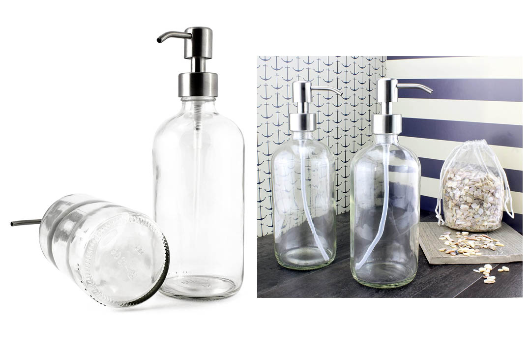 16-Ounce Clear Glass Boston Round Bottles w/Stainless Steel Pumps