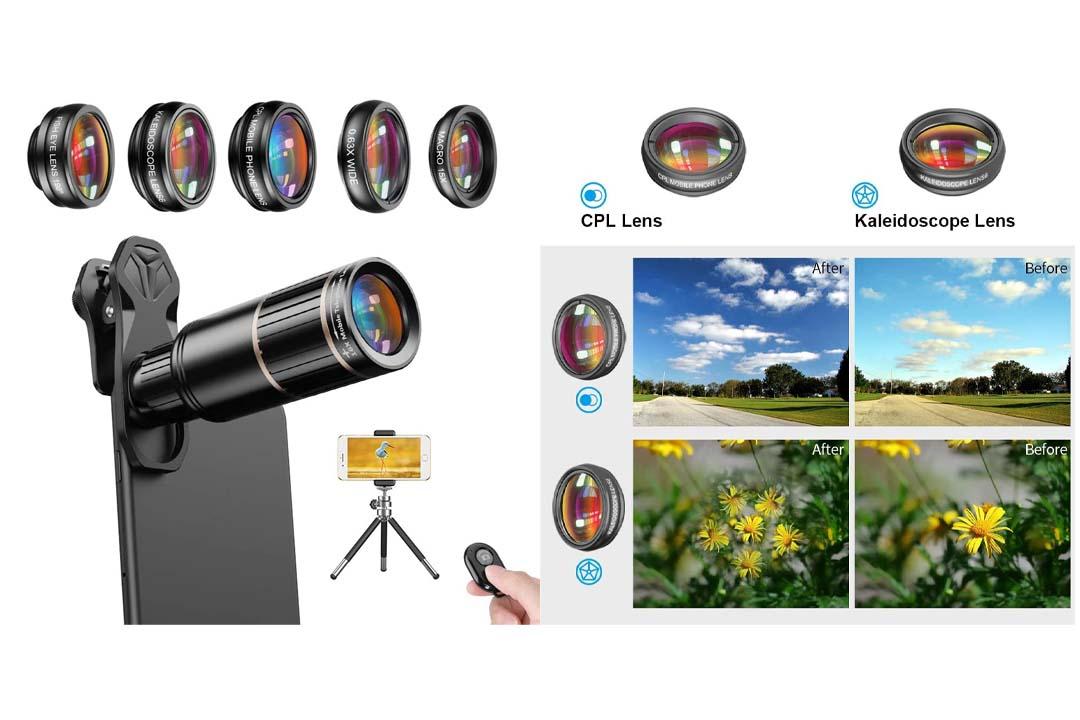 AMIR for iPhone Lens, 0.4X Wide Angle Lens + 180°Fisheye Lens