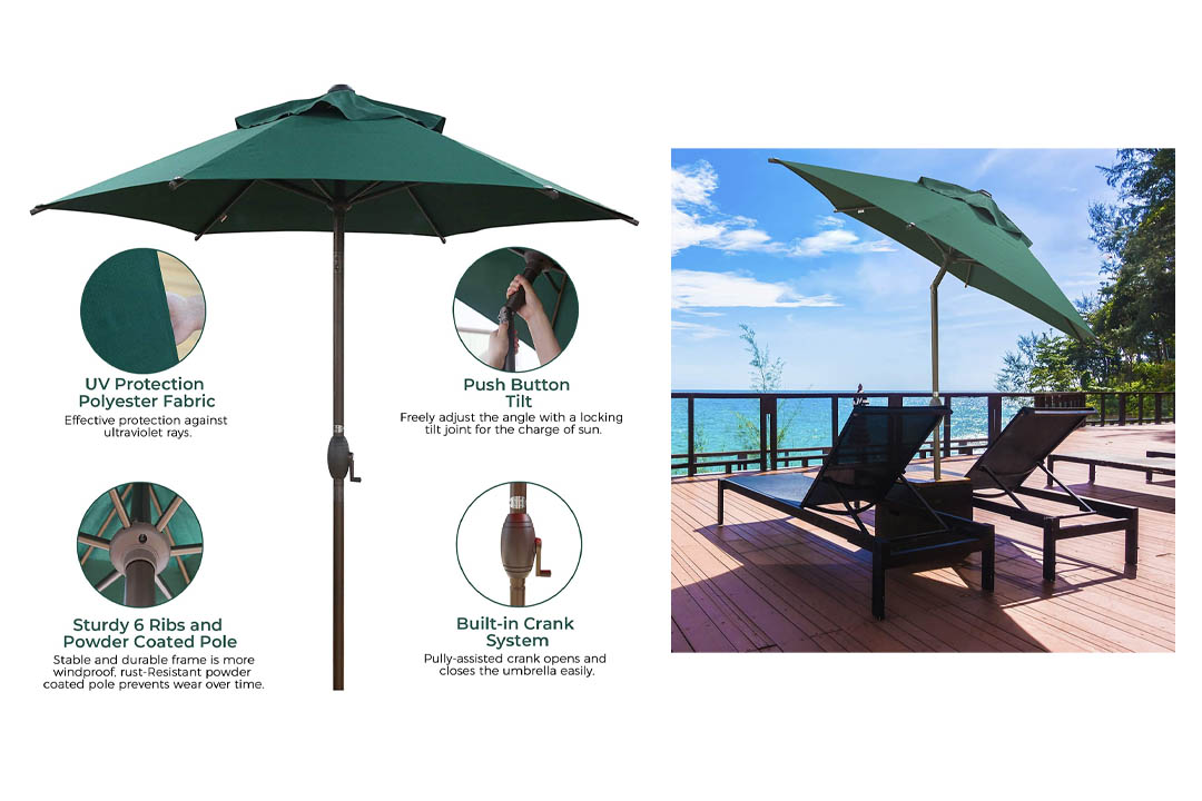Abba Patio 7-1/2 ft. Round Outdoor Market Patio Umbrella with Push Button Tilt and Crank Lift, Green