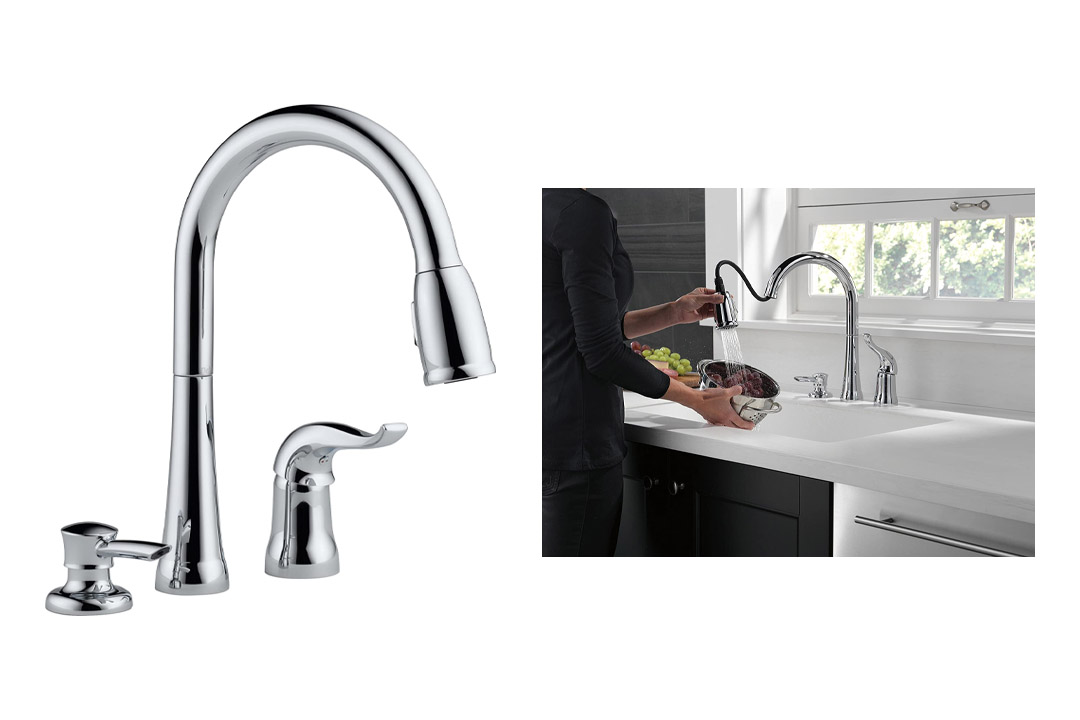 Delta 16970-SD-DST Single Handle Kitchen Faucet with Soap Dispenser