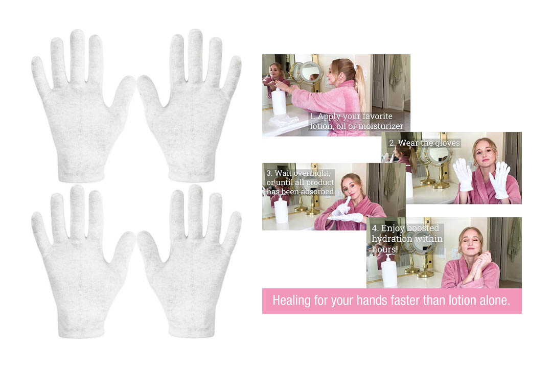 Eurow Cotton Cosmetic Moisturizing Therapeutic Gloves