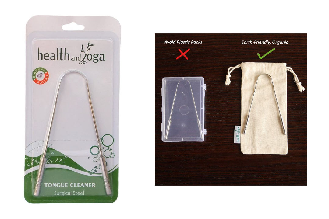 HealthAndYoga(TM) Surgical Grade Stainless Steel Tongue Cleaner Scraper