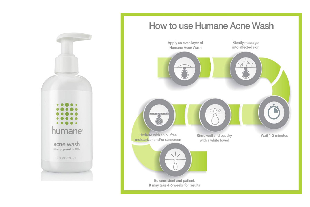 Humane Benzoyl Peroxide 10% Acne Treatment Body & Face Wash
