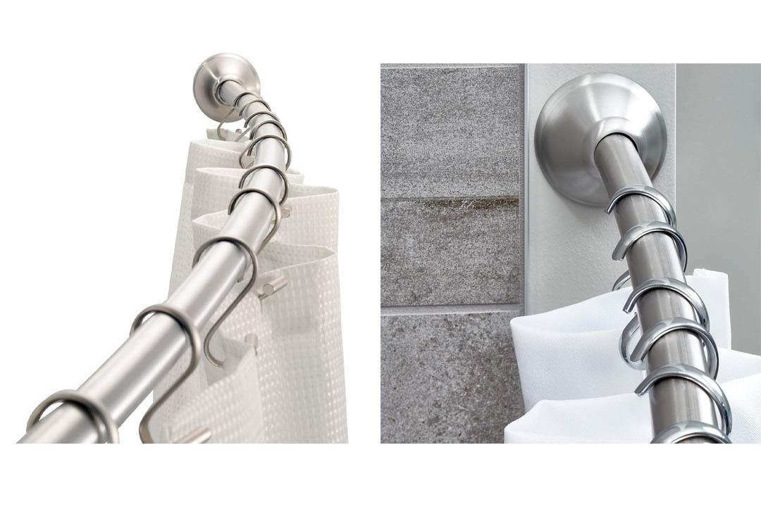 InterDesign Wall Mount Curved Bathroom Shower Curtain Rod