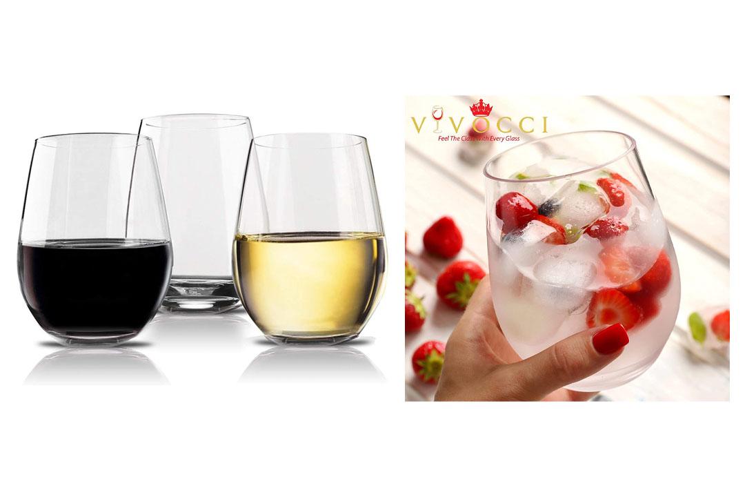Vivocci Unbreakable Elegant Plastic Stemless Wine Glasses 20 oz