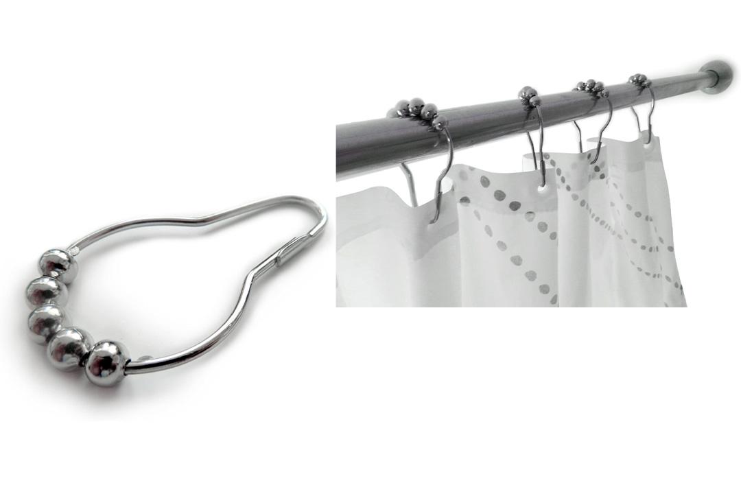 Wrenwane Shower Curtain Hooks - 100% Stainless Steel, Polished Chrome