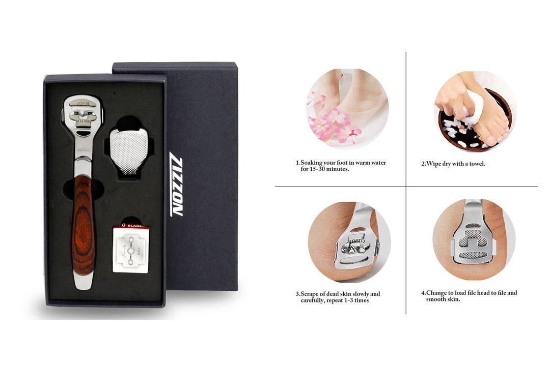 ZIZZON Foot Care Pedicure Callus Shaver Hard Skin Remover Wood Handle