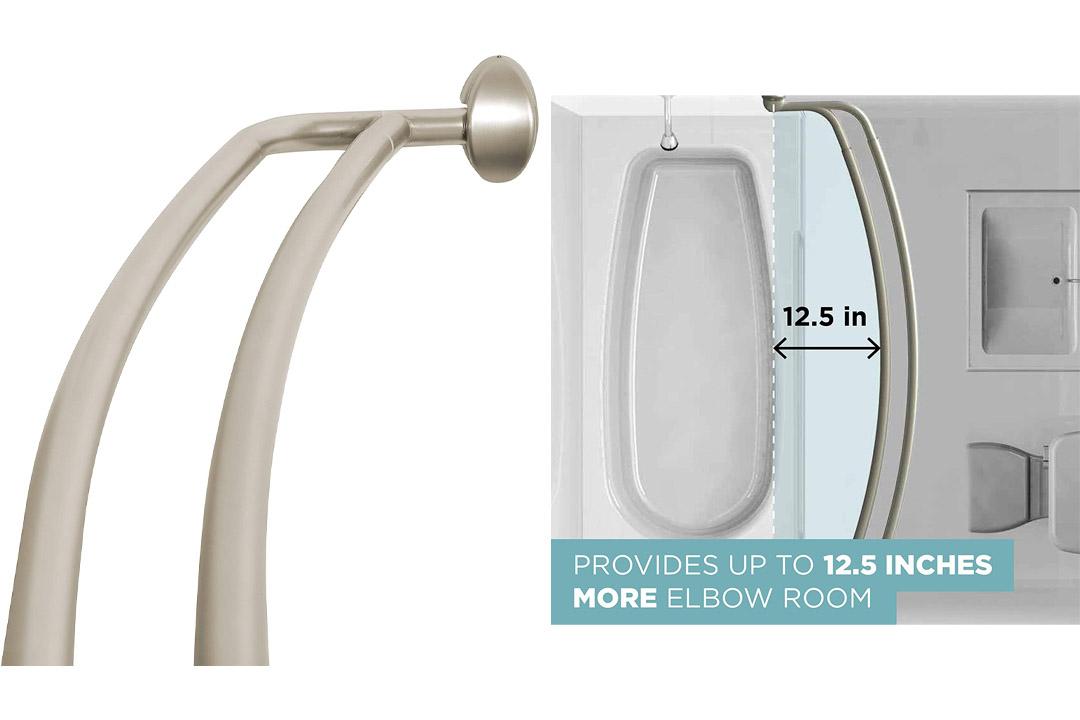 Zenna Home 35604BN, NeverRust Aluminum Double Curved Shower Curtain Rod