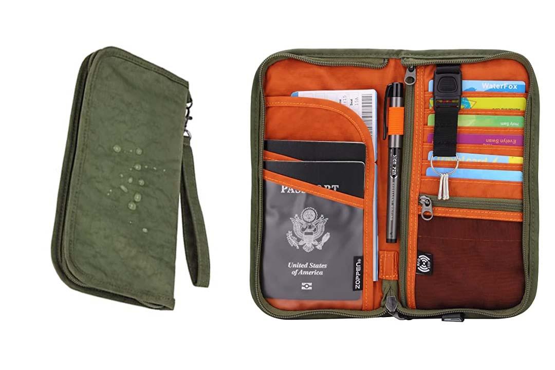 Zoppen RFID Travel Wallet & Documents Organizer Zipper Case