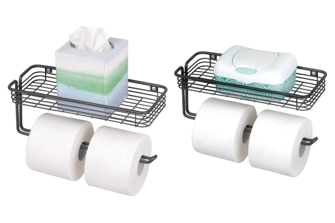mDesign Wall Mount Toilet Paper Holder Shelf Bathroom Storage