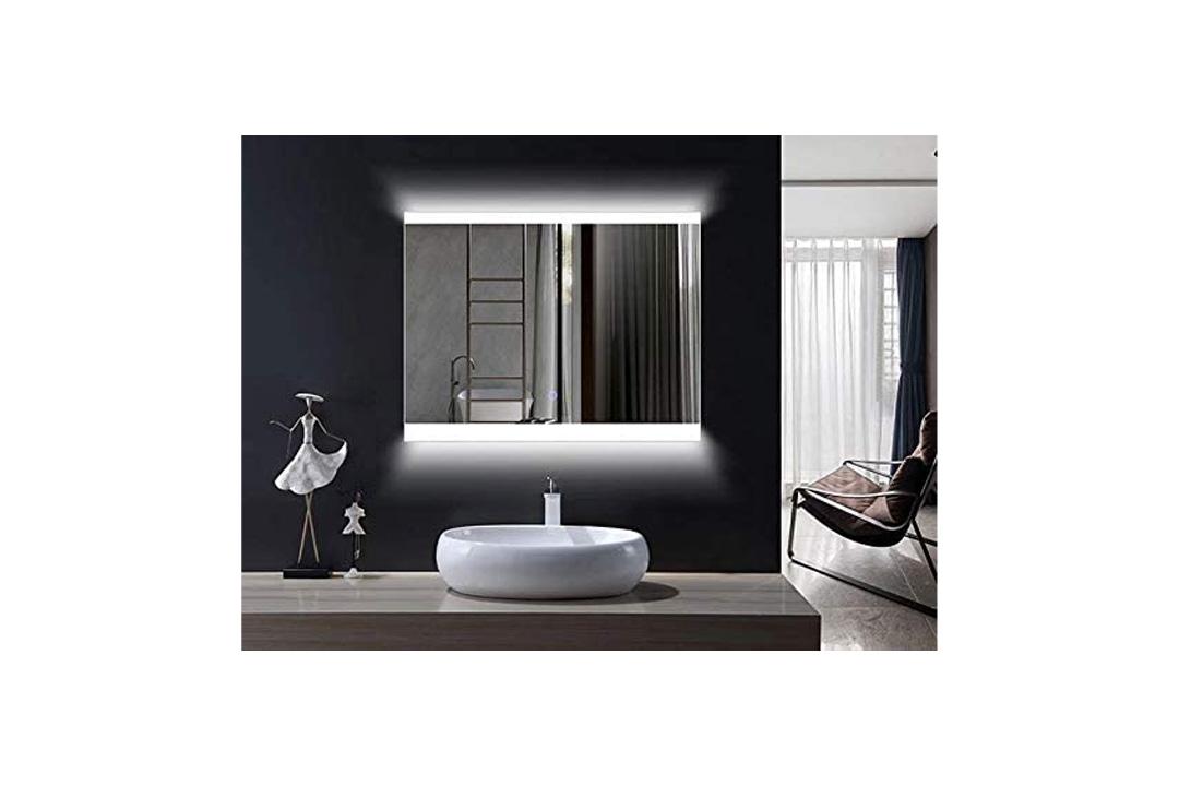 Horizontal LED Wall Mounted Lighted Vanity Bathroom Silvered Mirror