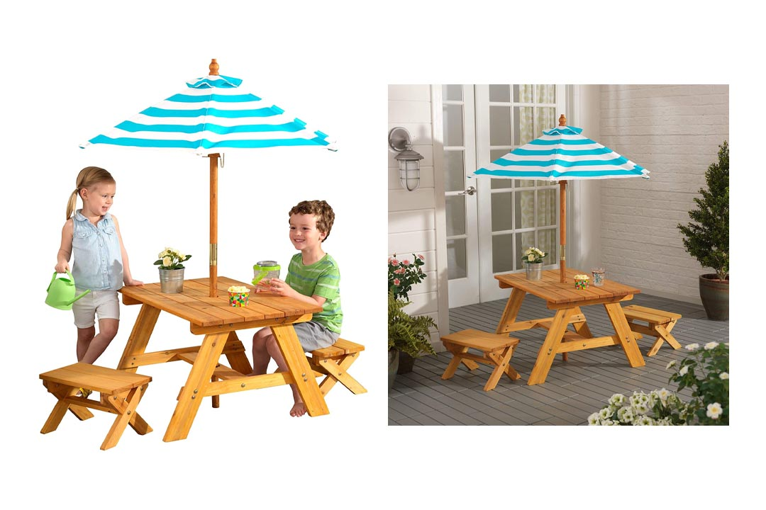 KidKraft Outdoor Table w/ Benches & Umbrella