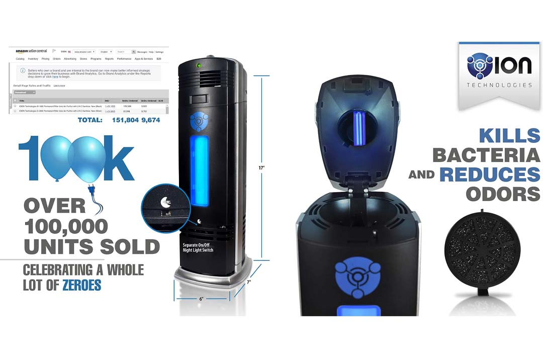 O-Ion B-1000 Permanent Filter Ionic Air Purifier Pro Ionizer with UV-C Sanitizer