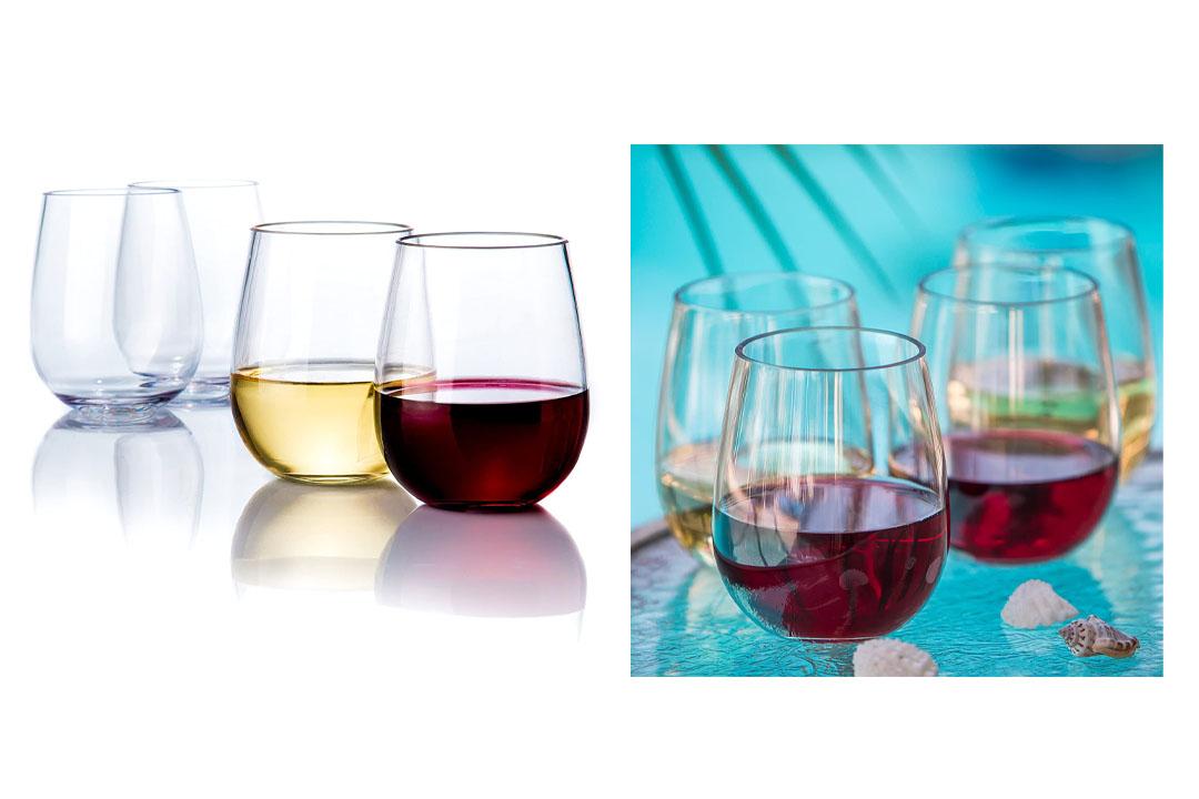 Savona Elegant Stemless Plastic Wine Glasses Unbreakable Wine Glasses