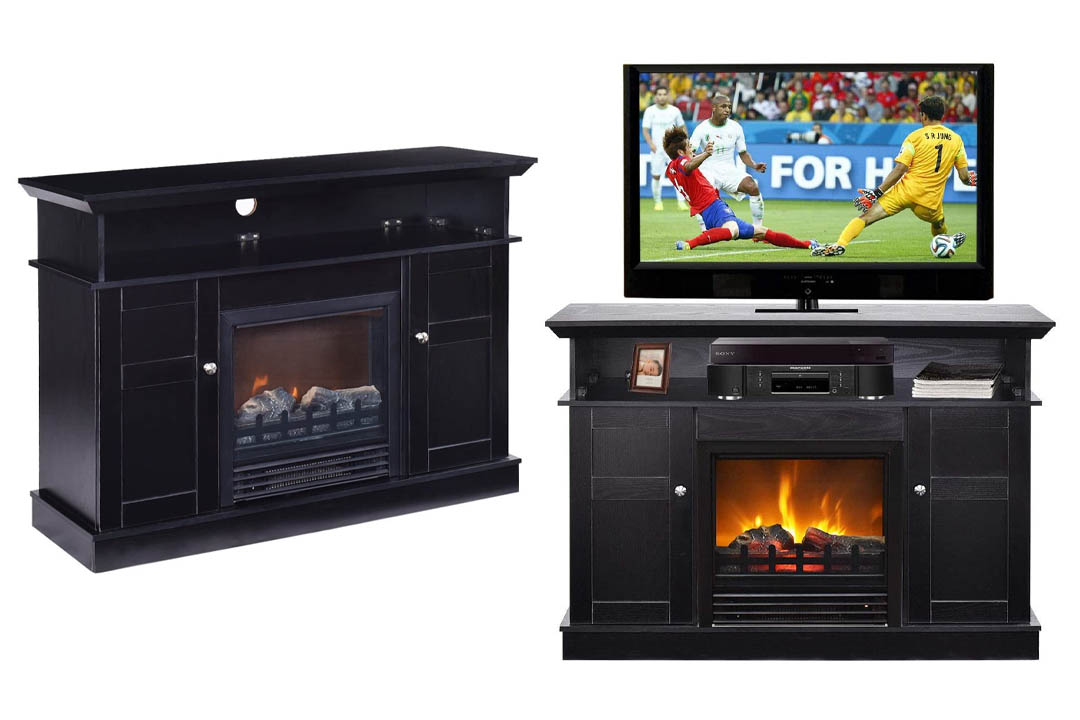 Tangkula Fireplace & Living Room Wooden Media TV Stand