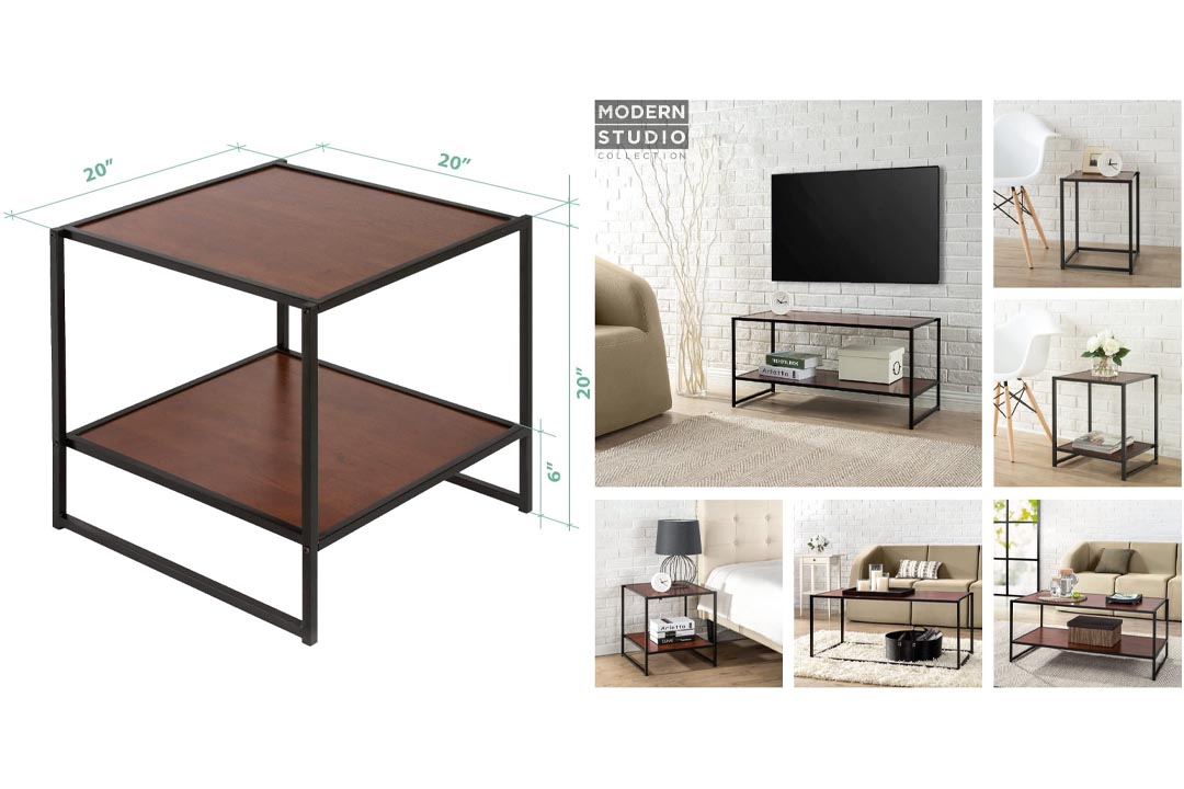 Zinus Modern Studio Collection Set of Two 20 Inch Square Side