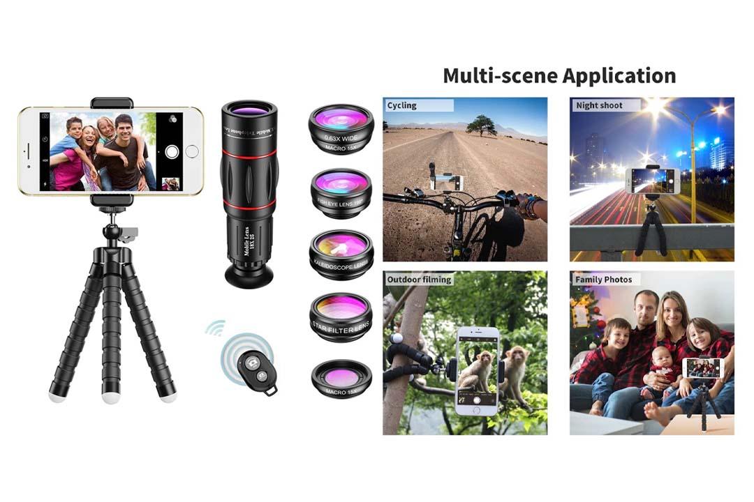 APEXEL Phone Camera Lens with 18x Telephoto Lens+Fisheye