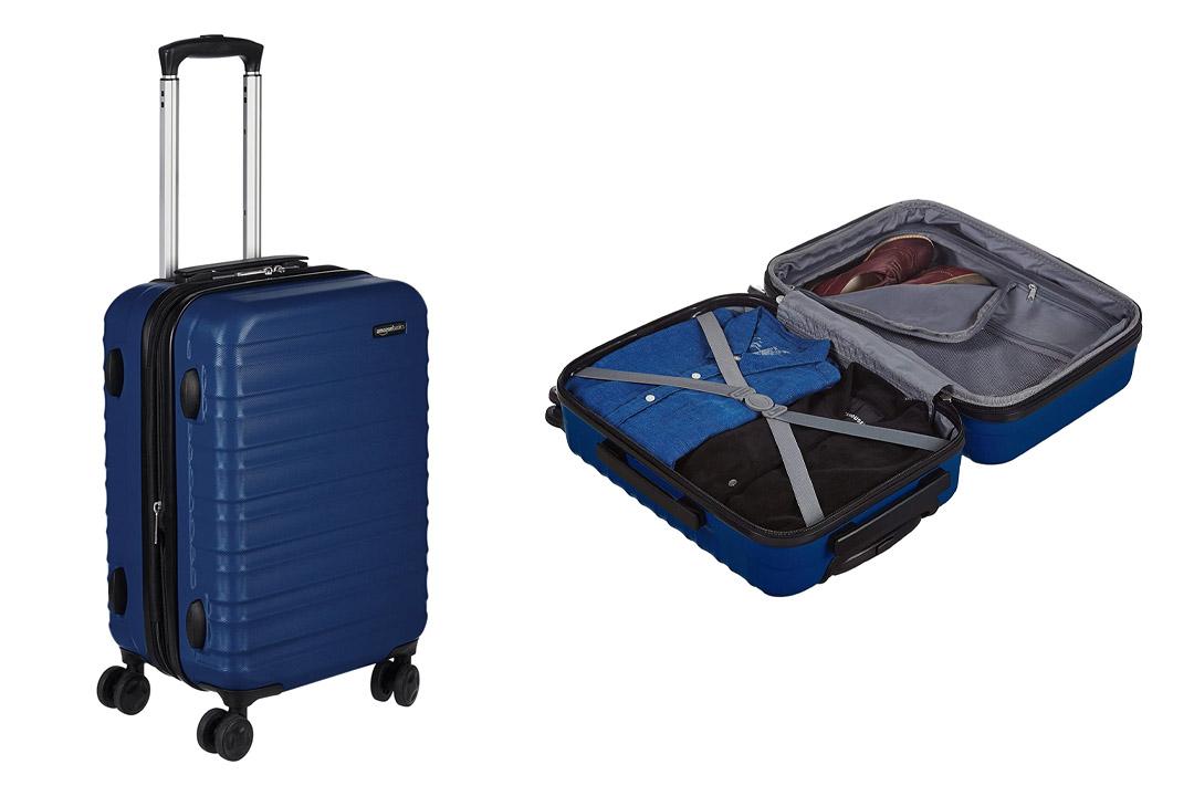 AmazonBasics Hardside Spinner Luggage, Blue
