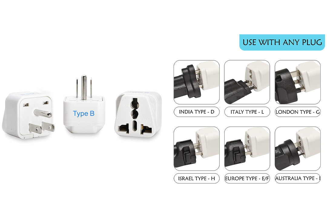 Ceptics Grounded Universal Plug Adapter