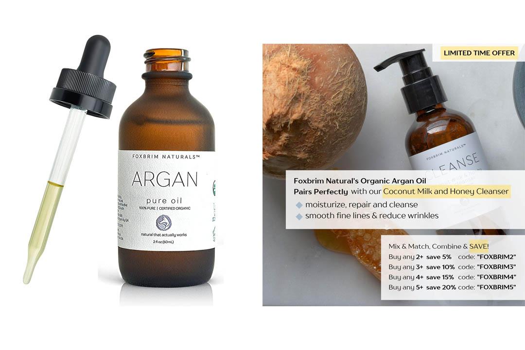 Foxbrim 100% Pure Organic Argan Oil for Hair, Skin & Nails