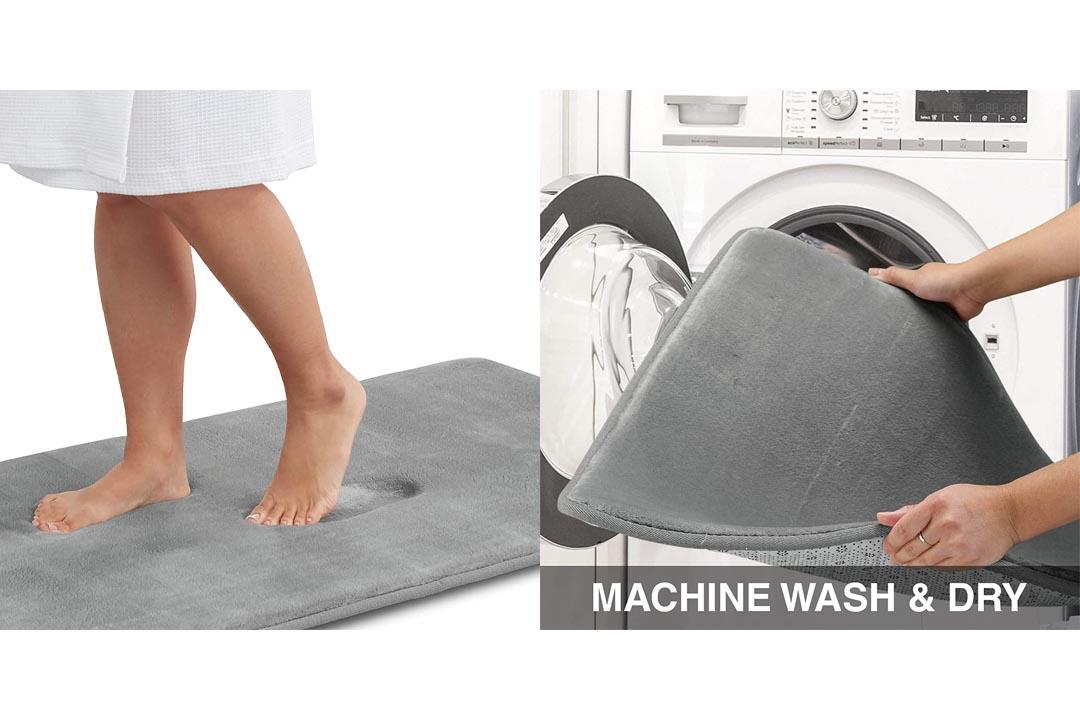 Genteele Memory Foam Bath Mat Non Slip Absorbent Super Cozy Velvet Bathroom Rug Carpet