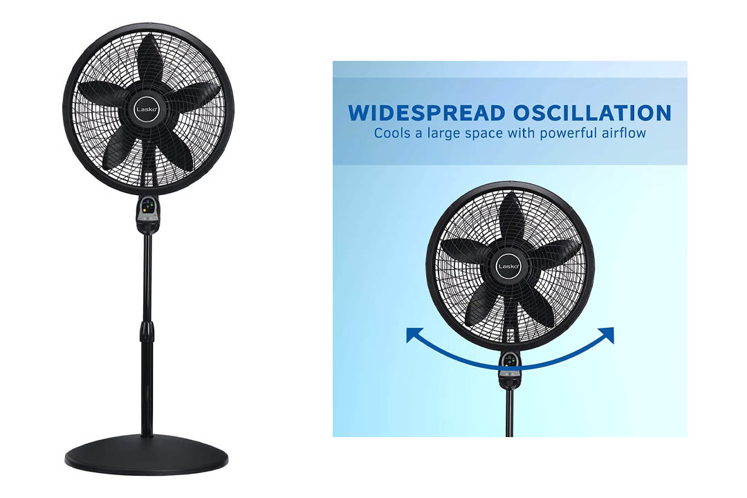 Lasko 1843 18″ Remote Control Cyclone Pedestal Fan with Built-in Timer