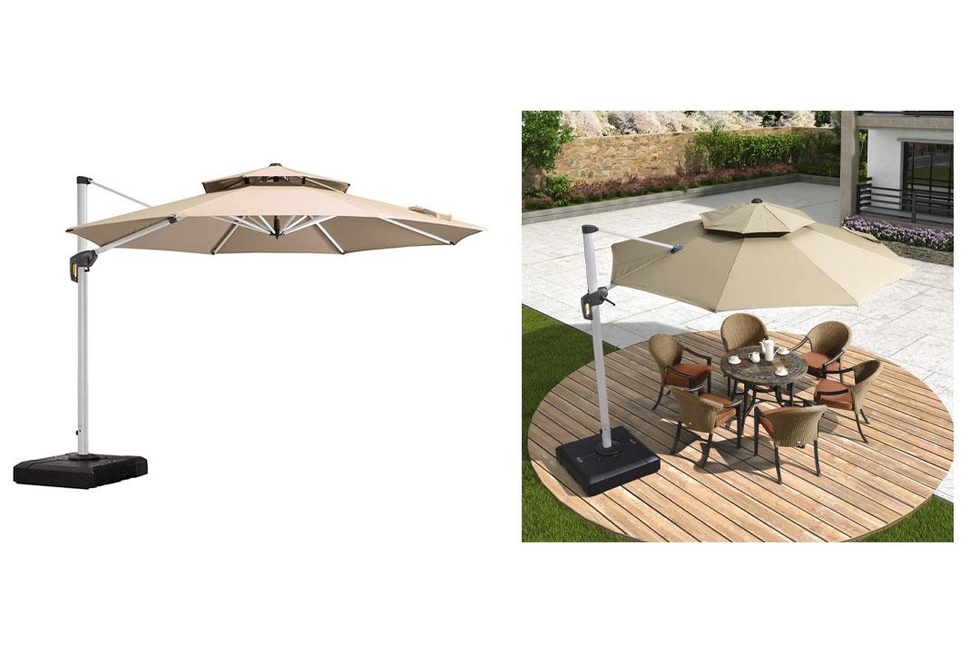 PURPLE LEAF 11 Feet Double Top Deluxe Patio Umbrella