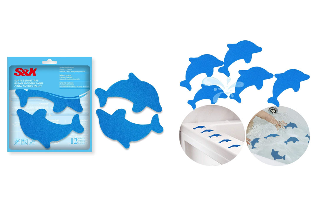 S&X Non-Slip Bath Stickers,Grippy Dolphin Adhesive Safety Treads