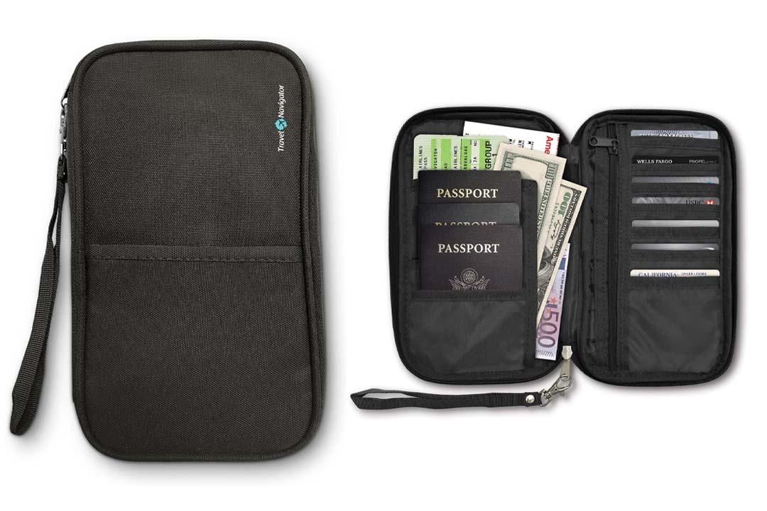 Travel Navigator RFID Travel Passport Wallet & Document Organizer Zipper Case