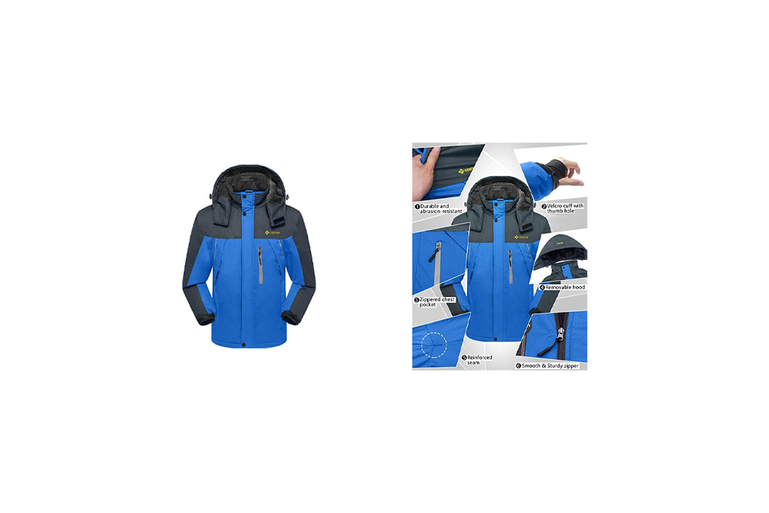 Ubon Men's Waterproof Windproof Fleece Ski Jacket