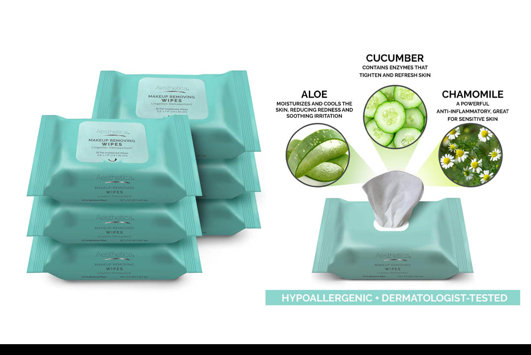 Aesthetica Makeup Removing Wipes - Facial Cleansing Towelettes
