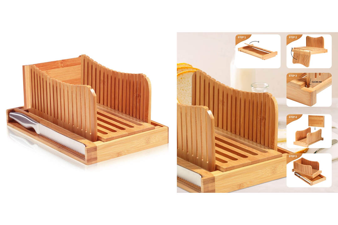 Bamboo Bread Slicer Guide with Crumb Catcher Tray