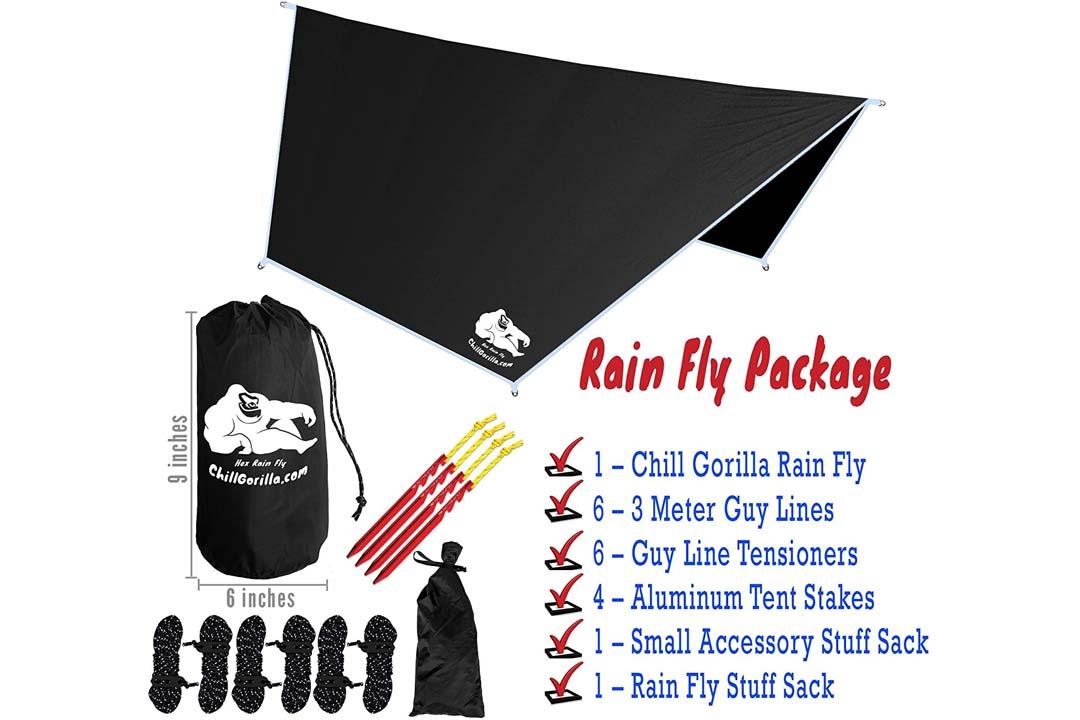 Chill Gorilla Hex Hammock Rain Fly Tent Tarp Waterproof Camping Shelter