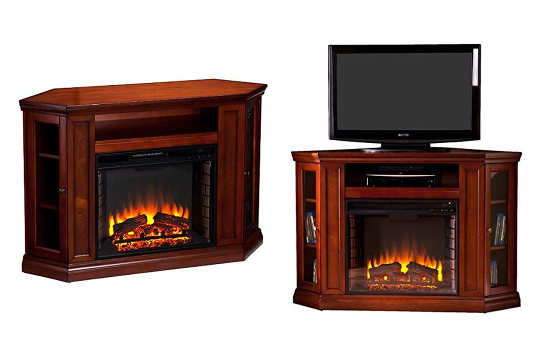 Electric Fireplace TV Stand and Fireplace in Brown Mahogany