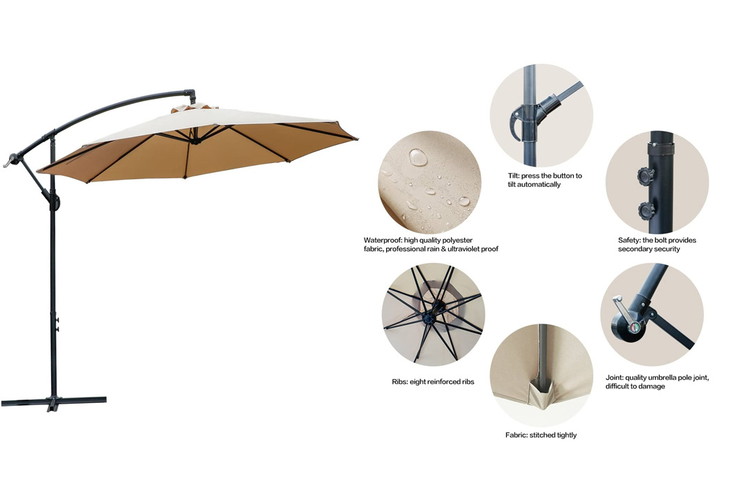 FARLAND Offset Umbrella 10 Ft Cantilever Patio Umbrella Outdoor Market Umbrellas