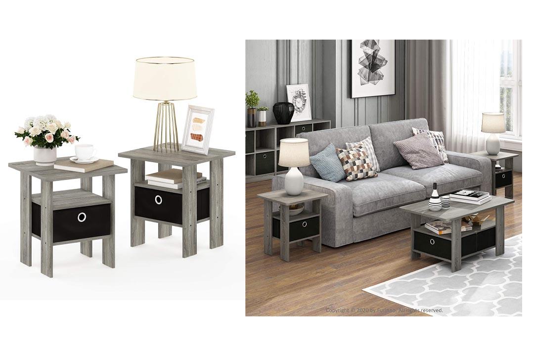 Furinno 2-11157GYW Petite End Table Bedroom Nightstand