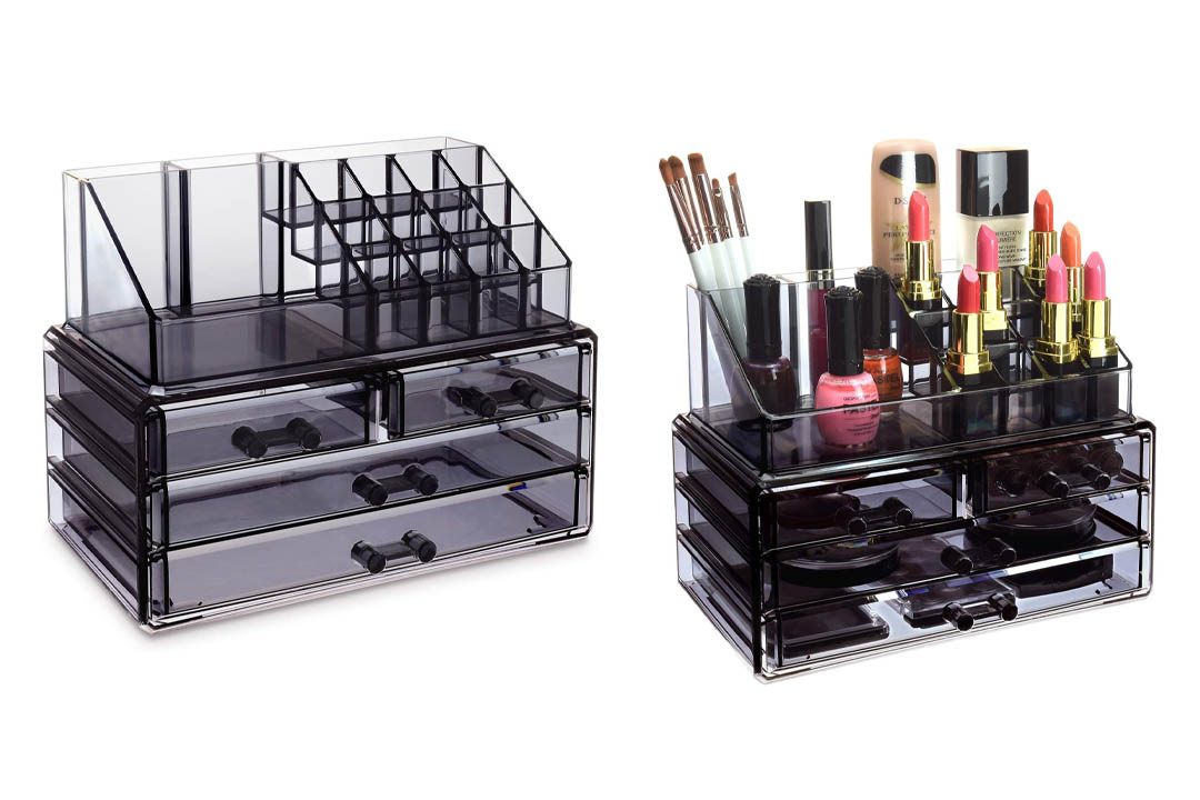 Ikee Design Jewelry and Cosmetic Storage Makeup Organizer Two Pieces Set