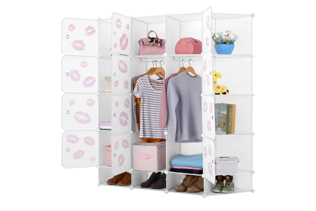 KOUSI Portable Clothes Closet Plastic Wardrobe Freestanding Storage Organizer