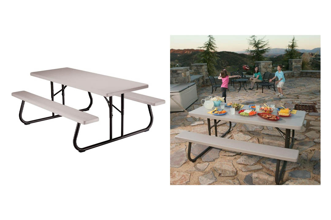 Lifetime 22119 Folding Picnic Table, 6 Feet, Putty