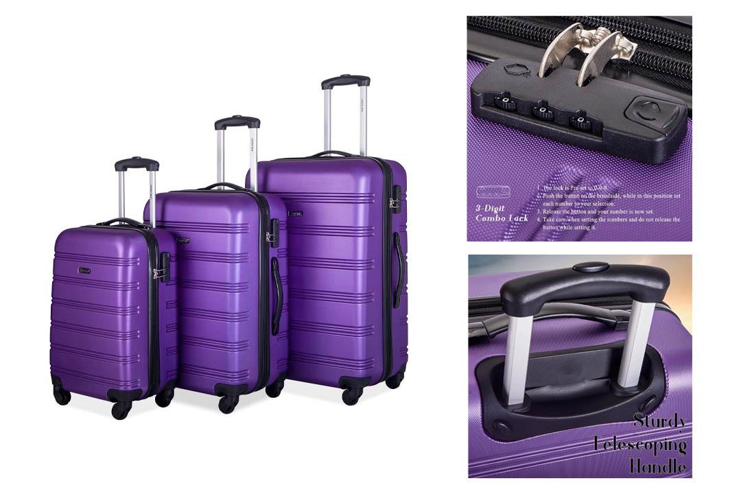 Merax Travelhouse Luggage 3 Piece Expandable Spinner Set Purple