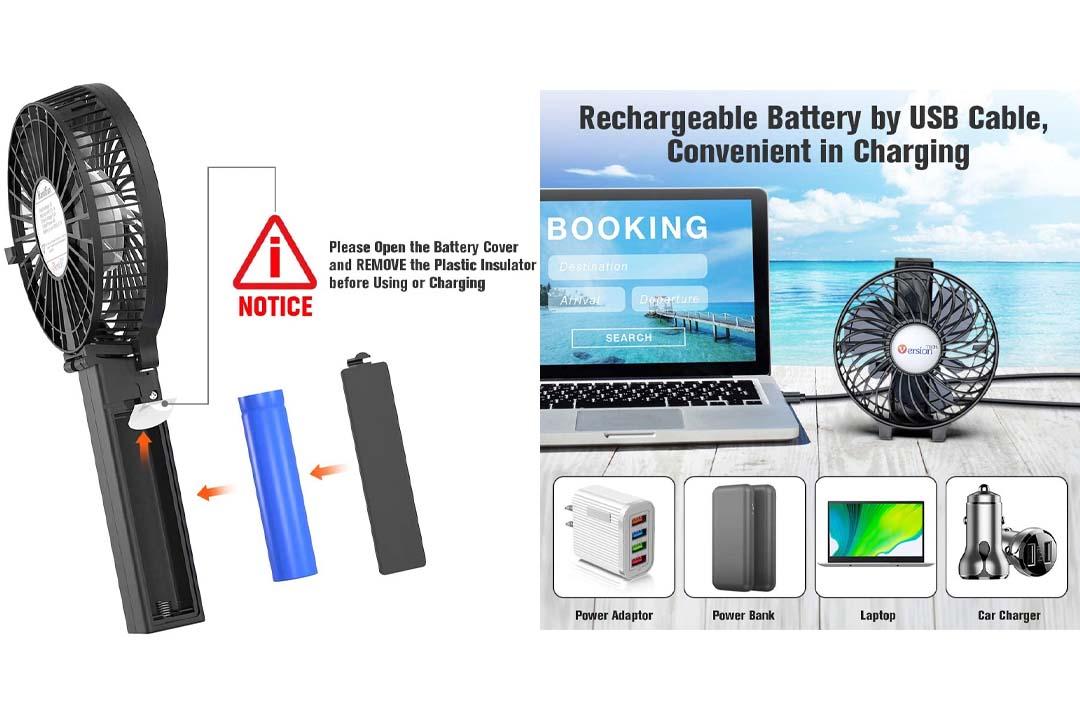 Mini Handheld Fan, VersionTECH. Personal Portable Desk Stroller Table Fan