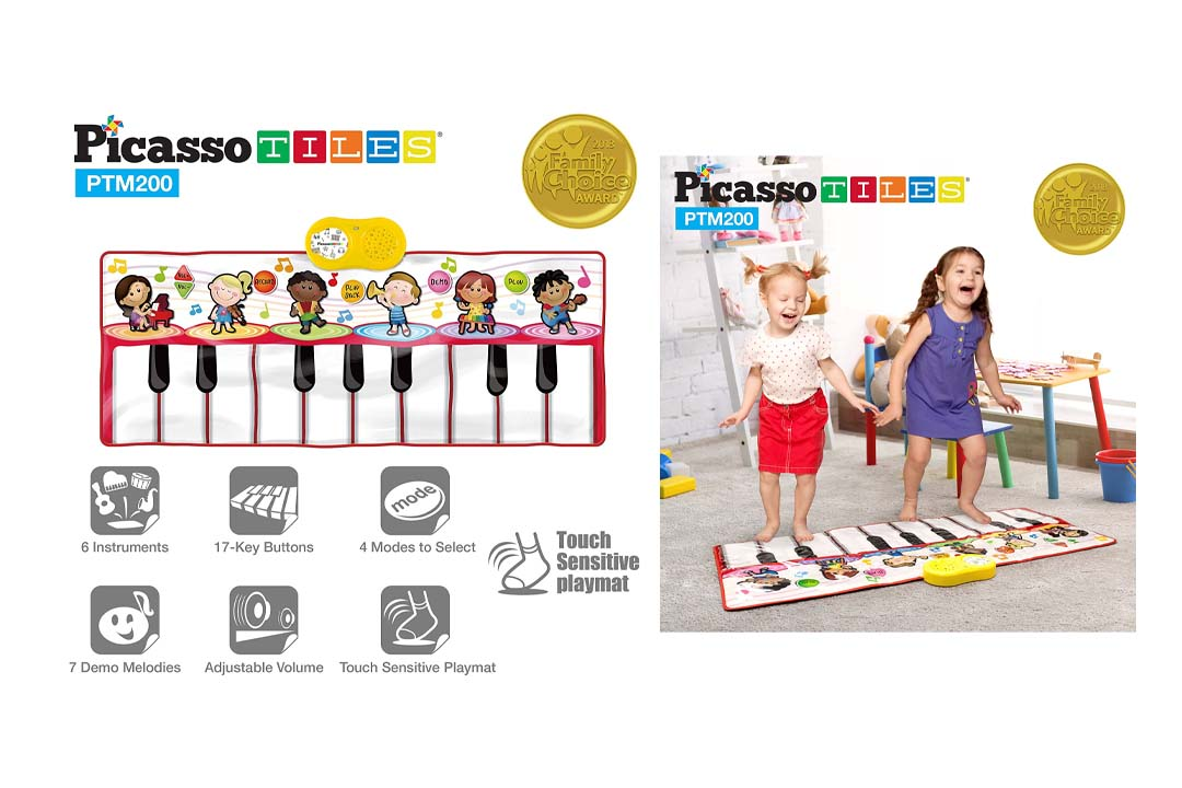 PicassoTiles PTM200 Portable Large Piano Keyboard Educational Music Mat Playmat