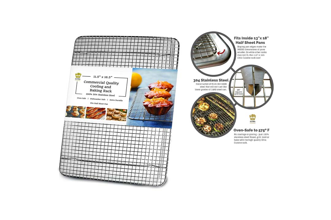 UltraCuisine 100% Stainless Steel Wire Cooling Rack for Baking