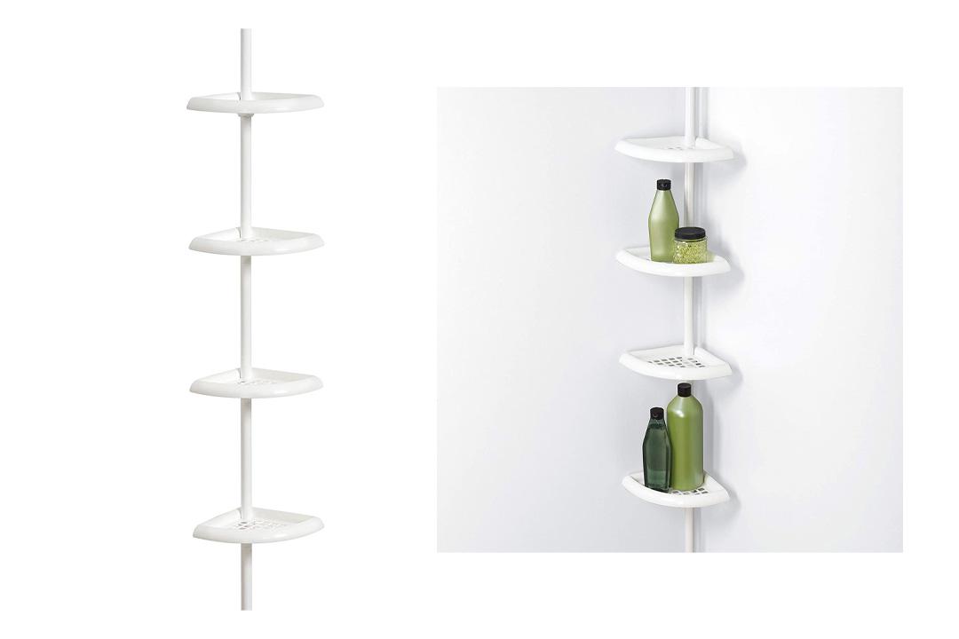 Zenna Home 2104W, Bathtub and Shower Tension Corner Caddy