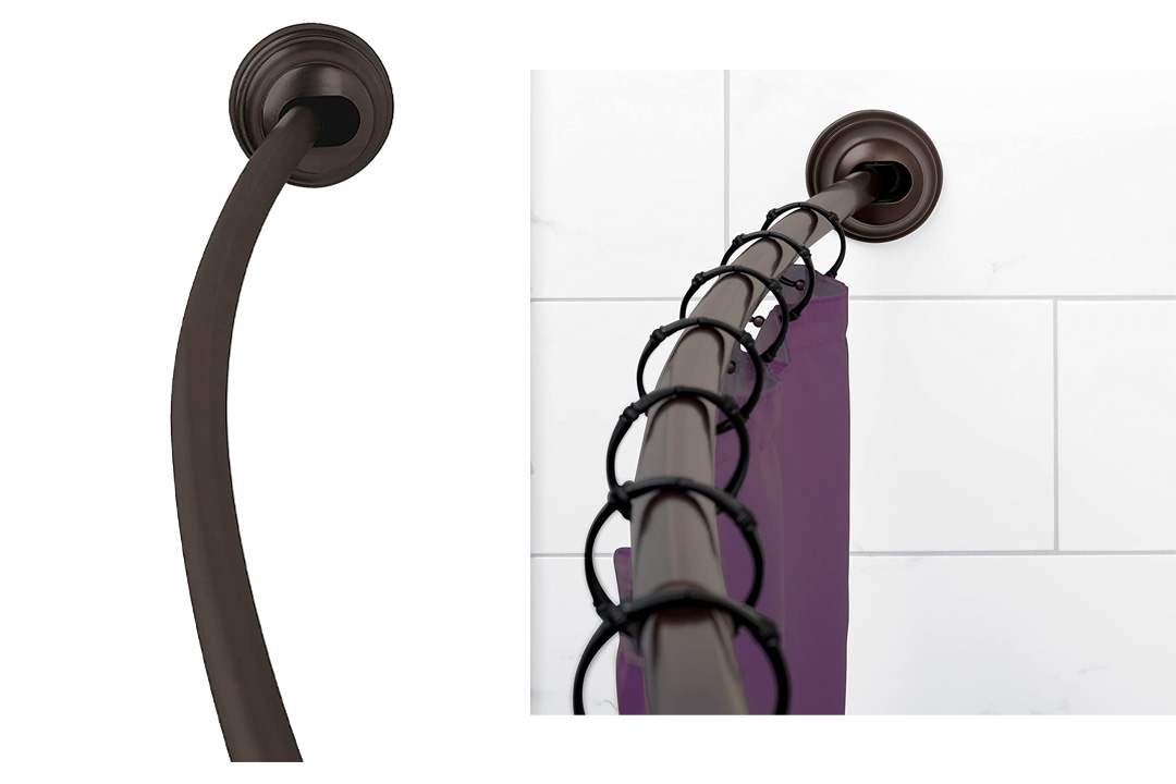 Zenna Home 35633HBP, NeverRust Aluminum Tension Curved Shower Curtain Rod
