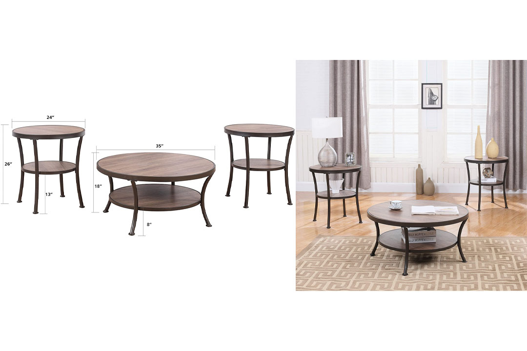 3 Piece Modern Round Coffee Table and 2 End Tables