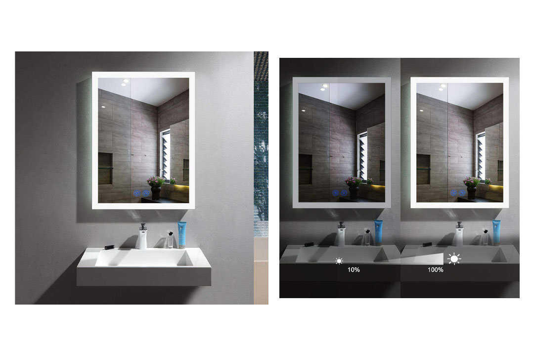 55 x 28 Inch Horizontal LED Wall Mounted Lighted Vanity Bathroom Silvered Mirror