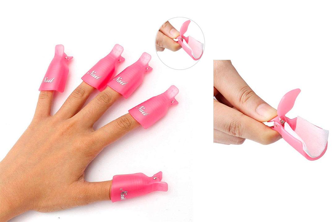 HiMo 10PC Plastic Acrylic Nail Art Soak Off Cap Clip
