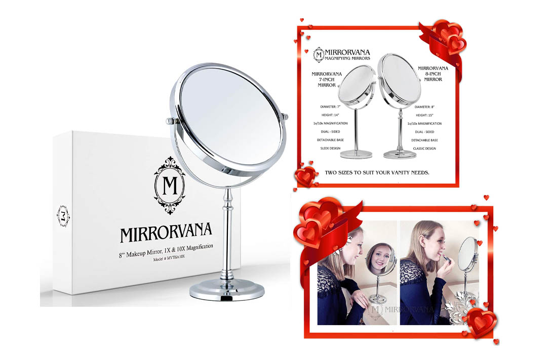 Mirrorvana Vanity 8-Inch Double-Sided Magnifying Makeup Mirror
