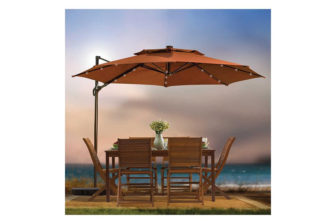 Outdoor Patio Cantilever Umbrella 11 Foot Round Canopy